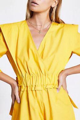 River Island Yellow ruched tie waist wrap playsuit