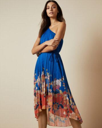 Ted Baker DAHLARI Cabana pleated one shoulder midi dress Blue Multi