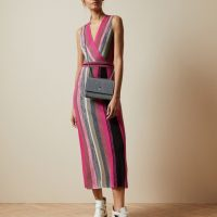 Ted Baker Floral SOFINAA Knitted wrap detail dress Pink Multi