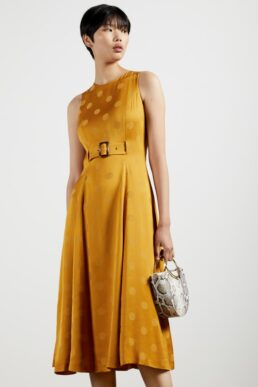 Ted Baker INNABEL A-line belted midi dress Yellow