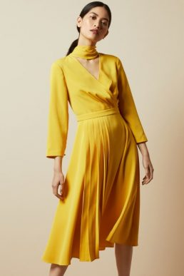 Ted Baker JILLIIE Tie neck midi dress Yellow