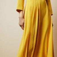 Ted Baker JILLIIE Tie neck midi dress Yellow