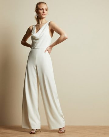 Ted Baker MELBI Cowl neck contrast wide leg jumpsuit White