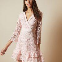 Ted Baker NELLO Multi lace V neck tunic dress Blush Light Pink