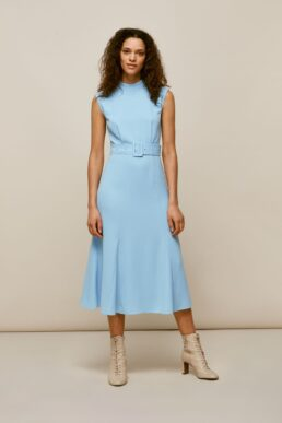 Whistles Penny Belted Dress Light Blue