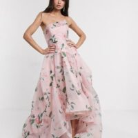 Bariano full maxi dress with organza bust detail in multi floral, Pink/Blush/Multi