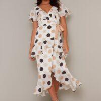 Chi Chi Blessica Spot Dress White Nude