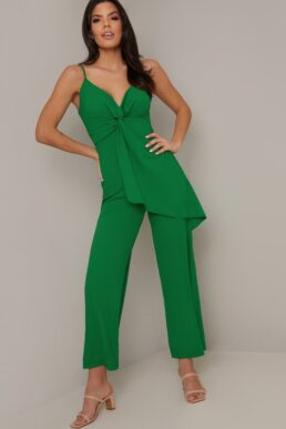 Chi Chi Chloe Frill Overlay Jumpsuit Green