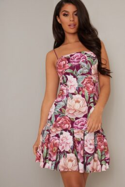 Chi Chi Rylie Floral Print Pleat Short Dress Pink Multi