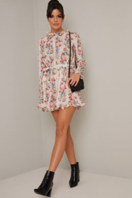 Chi Chi Sofia Floral Sleeve Playsuit Blush Pink Multi