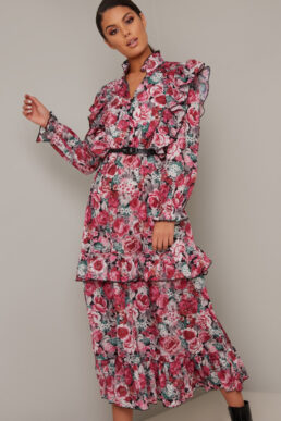Chi Chi Zandria Floral Print Sleeve Dress Pink Black Multi