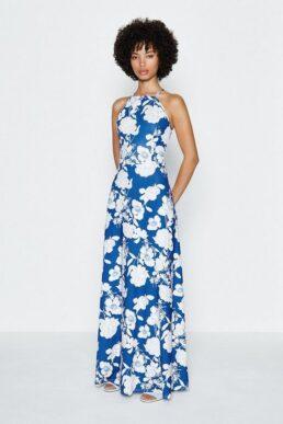 Coast Halter Floral Printed Maxi Dress Blue White