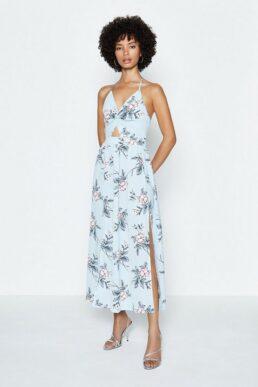 Coast Halter Neck Printed Maxi Dress Blue Multi