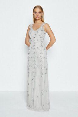 Coast Lace Strap Embellished Maxi Dress Silver