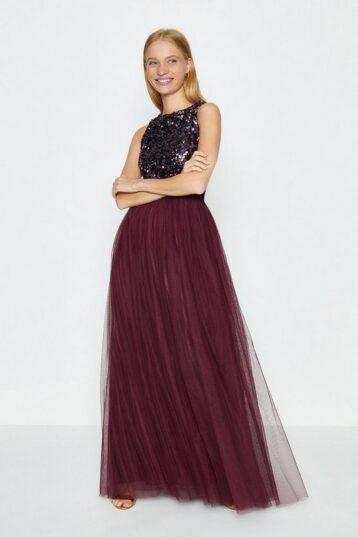 Coast Tulle Maxi Skirt Aubergine Burgundy Red