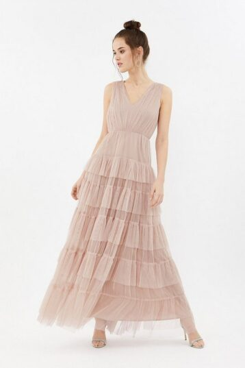 Coast Tulle Tiered Maxi Dress Blush Pale Pink