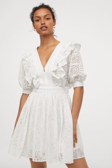 H&M Broderie Anglaise Dress White