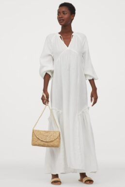 H&M Cotton kaftan dress Cream