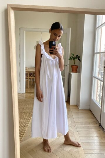 H&M Flounce-trimmed dress White
