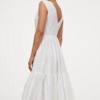 H&M Long V-neck dress White