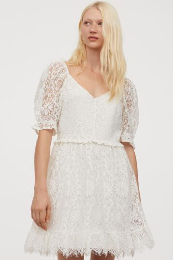 H&M Short lace dress Cream