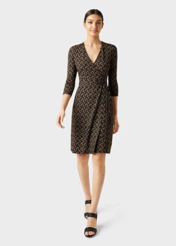 Hobbs Delilah Jersey Wrap Dress Black Gold
