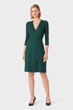 Hobbs Delilah Jersey Wrap Dress Navy Green
