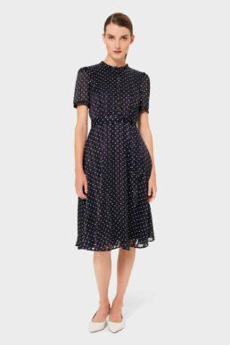 Hobbs Mae Jacquard Spot Shirt Dress Navy Ivory