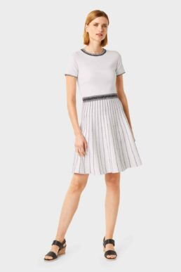 Hobbs Milly Knitted Dress Ivory Black
