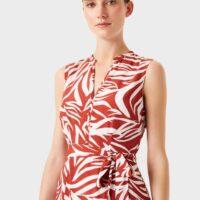 Hobbs Shelley Printed Belted Dress Rust Ivory