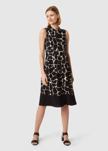 Hobbs Suzanna Animal Print Fit And Flare Dress Black Neutral