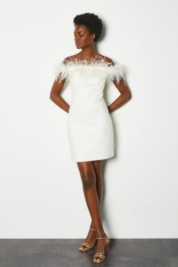 Karen Millen Feather Bardot Dress Ivory