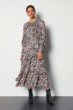 Karen Millen Tiered Midi Dress With Shirring Detail Multi Black