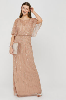 Monsoon Angelina Beaded Maxi Dress Neutral Light Pink