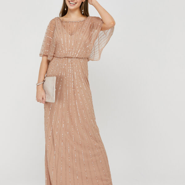 Monsoon Angelina Beaded Maxi Dress Neutral Light Pink Myonewedding Co Uk