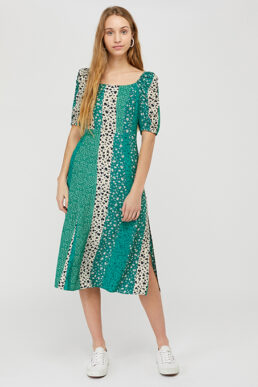 Monsoon Floral Patchwork Midi Dress In LENZING™ ECOVERO™ Green Multi