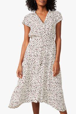 Phase Eight Afia Ditsy Spot Print Midi Dress White Multi