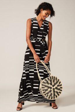 Phase Eight Willow Print Maxi Dress Black White