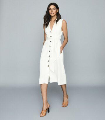 Reiss Rosalind Linen Blend Belted Midi Dress White Cream