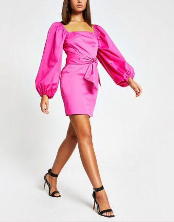 River Island Pink puff sleeve tie waist mini dress