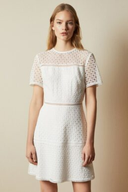 Ted Baker ALLARA Short sleeved lace mini dress Ivory