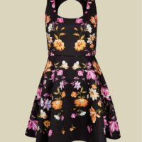 Ted Baker ANDIIE Rhubarb cut out back skater dress Black Multi
