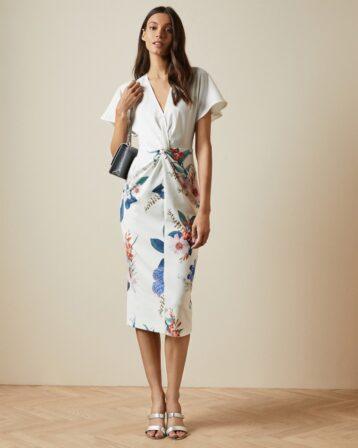 Ted Baker NERRIS Floral Jamboree twist detail midi dress White Multi