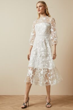 Ted Baker TABII Tiered lace midi dress Ivory