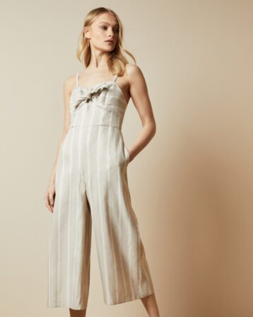 TFNC DACEYY Linen striped jumpsuit Ivory Nude