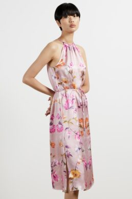 Ted Baker MEGARRA Rhubarb halterneck midi dress Pink Multi