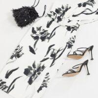 ASOS DESIGN one shoulder belted midi pencil dress in floral print Black White