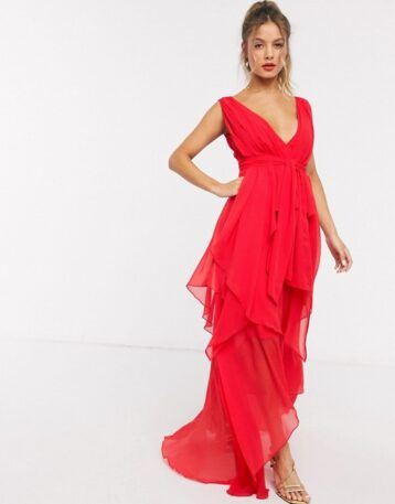 ASOS DESIGN soft layered maxi dress with tie waist detail Fire Red