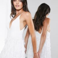 ASOS EDITION Afira plunge wedding dress with feather effect skirt White