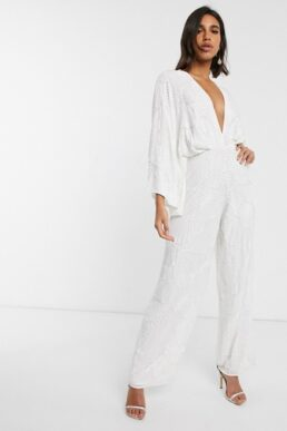 ASOS EDITION beaded kimono sleeve wide leg wedding jumpsuit Ivory